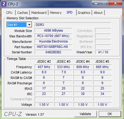 Testovaci vypis z CPUZ